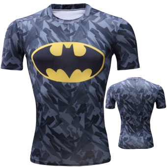 Superman ultra-stretch quick-drying short sleeved men T-shirt slim fit clothing (Batman camouflage)