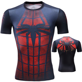 Superman ultra-stretch quick-drying short sleeved men T-shirt slim fit clothing (Spider Man black)