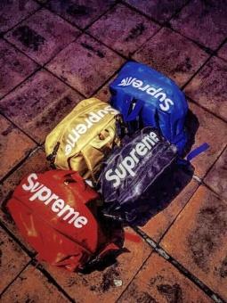 Supreme Backpack Ulzzang Bag European and American Tide Card DeadFly Retro Street Skateboard Backpack(Black) - intl - 5