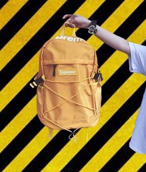Supreme Backpack Ulzzang Bag European and American Tide Card DeadFly Retro Street Skateboard Backpack(Black) - intl - 2