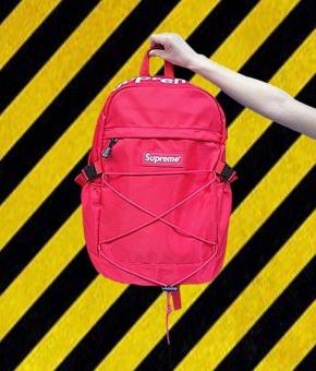 Supreme Backpack Ulzzang Bag European and American Tide Card DeadFly Retro Street Skateboard Backpack(Black) - intl - 4