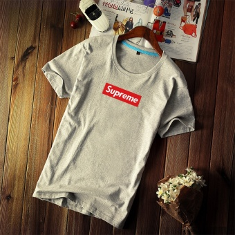 Supreme fashion leisure T-shirt Men's cotton printing short sleeve - intl
