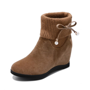 Sweet beauty bow duantong Martin boots (Plus Cotton + Beige)