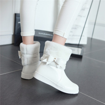 Sweet beauty bow duantong Women's boots winter shoes (White)