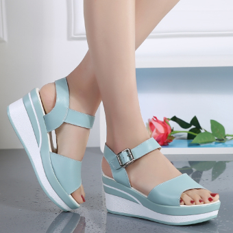 Sweet beauty New Style High-heeled buckle women's shoes sandals (Blue)