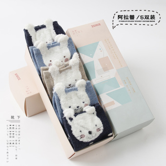 Sweet cotton girl's socks Qiudong socks (5 double loaded (Ala lei))
