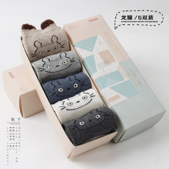 Sweet cotton girl's socks Qiudong socks (5 double loaded (Totoro))