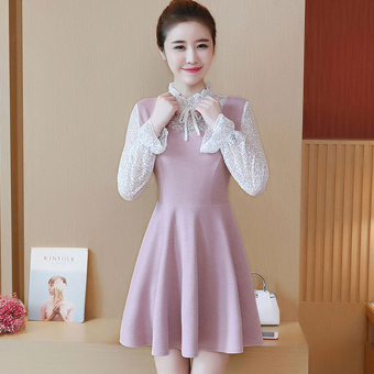 Sweet female autumn and dress New style temperament bottoming dress collar dress
