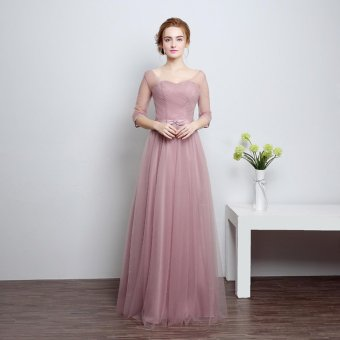Sweetheart Bridesmaid Chiffon Prom Dress Long Evening Gown(Type-B) - intl
