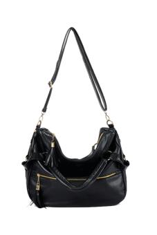Synthetic Leather Shoulder Messenger Bag (Black)