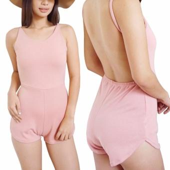 T25 Rebel Backless Sexy Romper Short W/O Pocket- Blush Pink - 2