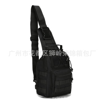 Tactical Canvas Chest Sling Packs Military Cross Body Shoulder Bag Sling Backpack Rucksack for Outdoor Sport Travel Color:Black Size:F - intl