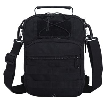 Tactical Travel Camo Nylon Shoulder Bag Backpack Sling Bags (Black)