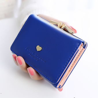 Tai Lian Jianyue female Japanese and Korean style student leather wallet women's wallet (Sapphire Blue)