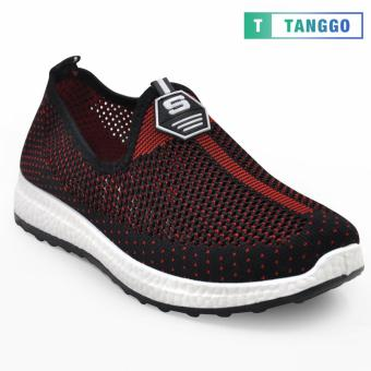 Tanggo Fashion Fly Woven Slip-On Sneakers Shoes for Women 609(Black/Maroon)