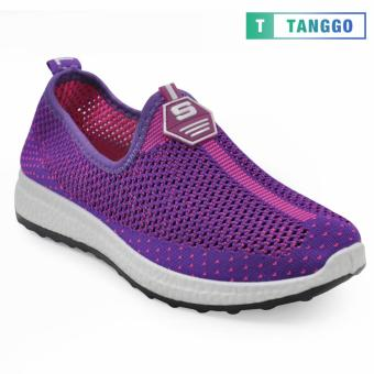 Tanggo Fashion Fly Woven Slip-On Sneakers Shoes for Women 609(Purple/Pink)