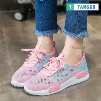 Tanggo Fashion Fly Woven Sneakers Shoes for Women 8816 (Pink)