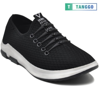 Tanggo Fashion Sneakers Mesh Shoes Light Breathable Slip-On for MenK-10 (black)