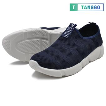 Tanggo Fashion Woven Fabric Shoes Men's Slip-On C-1 (navy blue)