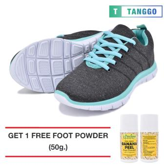 Tanggo Women's Sneakers Rubber Shoes 59-2 with Free 1 Precious Herbal Way Foot Powder 50g (black)