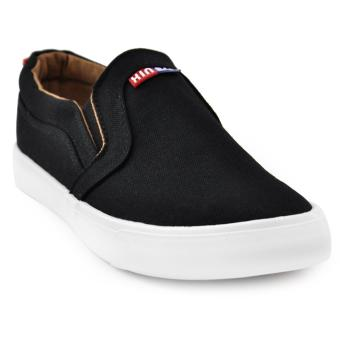 Tanggo Xin Fashion Sneakers Men's Flat Shoes Slip-On (black)