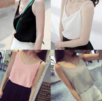 Tank Top Women New Summer Sleeveless Shirt V-neck Cami Loose CasualFemale Tops Vest Ladies Clothing(Black) - intl - 5