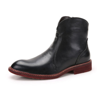 Tauntte Fashion Men Cowboy Boots Keep Warm Genuine Leather Biker Boots With Fur (Black) - Intl Price Philippines