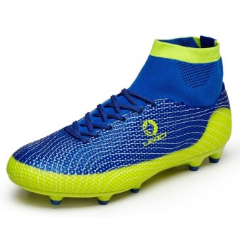 Tauntte High-Cut Men Football Shoes Fashion Breathable Spike SoccerShoes Korean Cleat Boots (Blue) - intl Price Philippines
