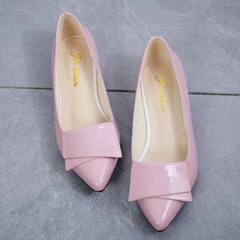 TB JOY Women's shallow mouth bow low-heeled pointed shoes Pink -intl Price Philippines