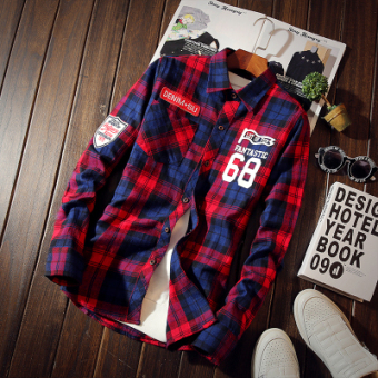 Teenager New style plaid with numbers long-sleeved shirt (Red)