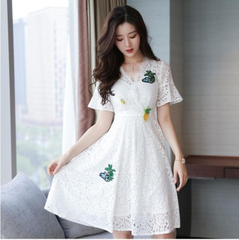Ten-Stellar 2017 Korean version of the summer new women's V-neckhigh waist dress, was slim body slim A dress, lace embroidery dresswomen's clothing - intl Price Philippines