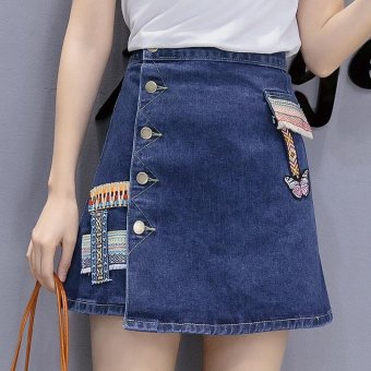 Ten-Stellar 2017 summer new Korean version of the single-breastedhigh waist a word skirt, national wind embroidered denim skirt,skirt skirt - intl Price Philippines