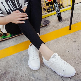 TF Ladies fashion sneakers Korean all-match casual shoes Sports shoes for young students(White) - intl Price Philippines
