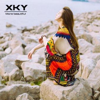 Thailand Bohemian Floral Dresses Maldives vacation Beach Skirt Dresses ethnic boho long dress - intl - 4