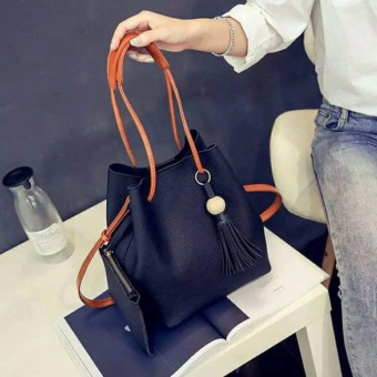 Than's Korean 2 in 1 Casual Pearl Bucket Bag PU Leather Tote Sling Handbag with Pouch