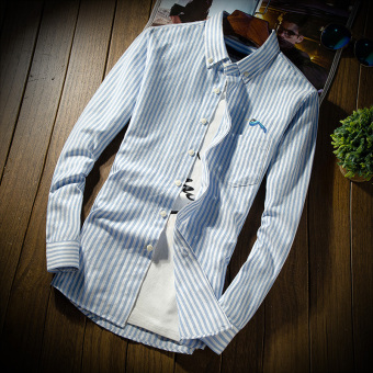 The more than casual autumn New style men's Shirt shirt (Light Blue)