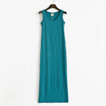 The new cotton long section Slim fit vest dress (Blue)