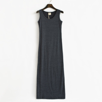 The new cotton long section Slim fit vest dress (Dark gray)