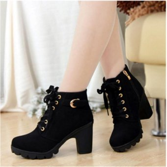 The new high - heeled foreign trade women 's shoes cross - strap boots with the Martin boots boots boots - intl