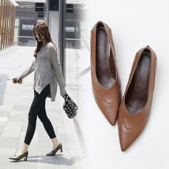 The United States and the United States in Europe and America small leather solid color 6cm high-heeled shoes (Light brown)