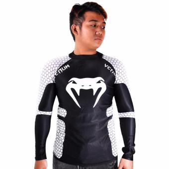 Thermal Compression Rash Guard Long Sleeve Top (Black/White)