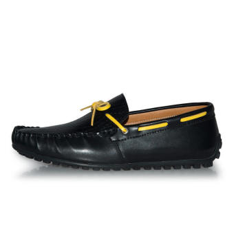 Thin Belt Leather Men's Loafers - Black - picture 2