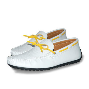 Thin Belt Leather Men's Loafers - White - picture 4