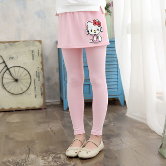 Thin children's divided skirt fake two-piece New style long pants girls leggings (Pink) (Pink)
