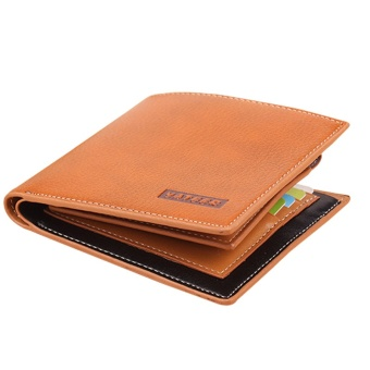 Three folds Solid short designer Men's leather wallet with coin pocket male purse credit card holder for man - intl