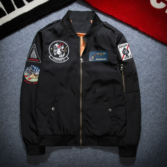 Tide brand ma-1 embroidery badge Teenager baseball clothes motorcycle jacket bomber jacket (6311 black)