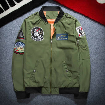 Tide brand ma-1 embroidery badge Teenager baseball clothes motorcycle jacket bomber jacket (6311 dark green)