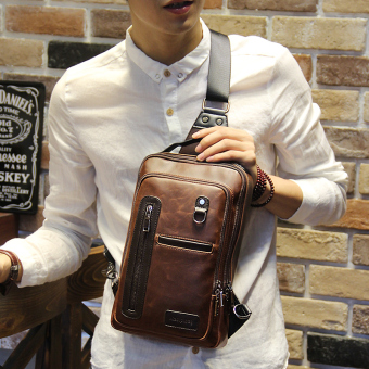 Tidog Fashion Crazy Horse chest bag male Korean tide chest pack men leisure bag crossbody bag - intl