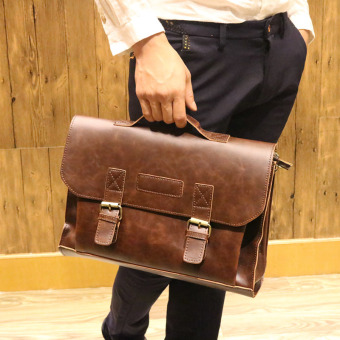 Tidog Men crazy horse leather briefcase retro handbag Crossbody Bag business Korean fashion handbag - intl