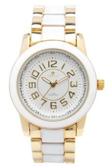 Timento Unisex Gold/White Ceramic Strap Watch SC 10119 1 GCER